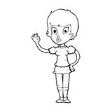 Cartoon pretty girl waving Royalty Free Stock Images