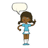 cartoon pretty maid woman with speech bubble Stock Photography
