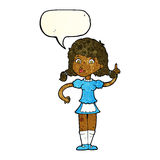 cartoon pretty maid woman with speech bubble Royalty Free Stock Images