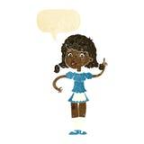 cartoon pretty maid woman with speech bubble Stock Photos
