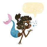 Cartoon pretty mermaid with speech bubble Stock Images
