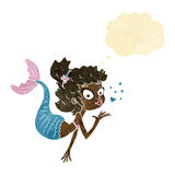 Cartoon pretty mermaid with thought bubble Stock Photo