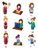 Cartoon pretty office woman worker icon set Stock Photos