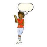 Cartoon pretty punk girl with baseball bat with speech bubble Stock Photo