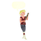 Cartoon pretty punk girl with baseball bat with speech bubble Stock Image