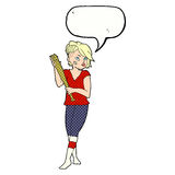 Cartoon pretty punk girl with baseball bat with speech bubble Royalty Free Stock Photography