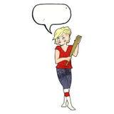 Cartoon pretty punk girl with baseball bat with speech bubble Stock Photos