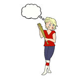 Cartoon pretty punk girl with baseball bat with thought bubble Stock Photography