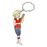 Cartoon pretty punk girl with baseball bat with thought bubble Stock Images