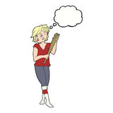 Cartoon pretty punk girl with baseball bat with thought bubble Royalty Free Stock Images