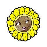 Cartoon pretty sunflower face Stock Images