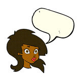 cartoon pretty surprised woman with speech bubble Royalty Free Stock Photos