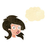 Cartoon pretty surprised woman with thought bubble Royalty Free Stock Photography