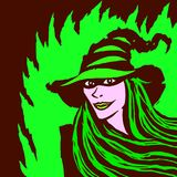 Cartoon pretty witch. Vector illustration. Royalty Free Stock Image