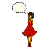 Cartoon pretty woman in dress with thought bubble Royalty Free Stock Image