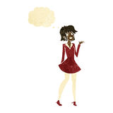 Cartoon pretty woman in dress with thought bubble Stock Image