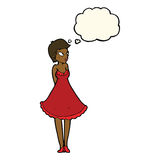 Cartoon pretty woman in dress with thought bubble Stock Photography