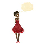 Cartoon pretty woman in dress with thought bubble Stock Photos