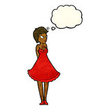 Cartoon pretty woman in dress with thought bubble Royalty Free Stock Photography