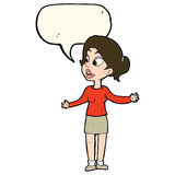 Cartoon pretty woman explaining something with speech bubble Stock Photos