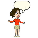 Cartoon pretty woman explaining something with speech bubble Royalty Free Stock Image