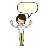 Cartoon pretty woman with hands in air with speech bubble Royalty Free Stock Photo