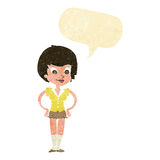 Cartoon pretty woman with hands on hips with speech bubble Royalty Free Stock Images