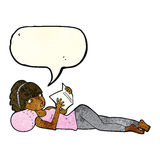 Cartoon pretty woman reading book with speech bubble stock illustration