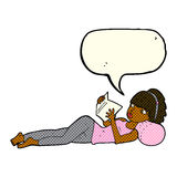 cartoon pretty woman reading book with speech bubble Royalty Free Stock Photography