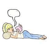 Cartoon pretty woman reading book with speech bubble royalty free illustration
