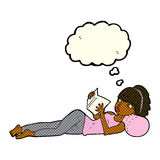 Cartoon pretty woman reading book with thought bubble Stock Photos