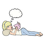 Cartoon pretty woman reading book with thought bubble vector illustration