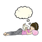 Cartoon pretty woman reading book with thought bubble royalty free illustration