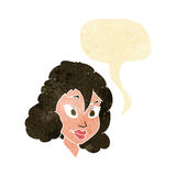 Cartoon pretty woman with speech bubble Royalty Free Stock Photos