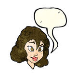 Cartoon pretty woman with speech bubble Royalty Free Stock Images