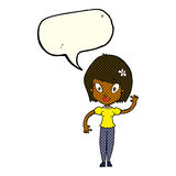 Cartoon pretty woman waving with speech bubble Royalty Free Stock Images