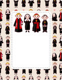Cartoon Priest and nun card Stock Photos