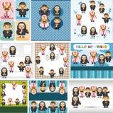 Cartoon Priest and nun card Stock Photos