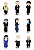 Cartoon Priest and nun icon set Stock Photography
