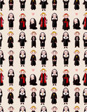Cartoon priest and nun seamless pattern Stock Photo