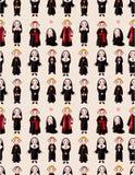 Cartoon priest and nun seamless pattern Stock Photo