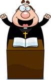 Cartoon Priest Sermon Royalty Free Stock Photography