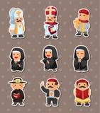 Cartoon priest stickers Royalty Free Stock Photo
