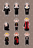 Cartoon priest stickers Stock Image