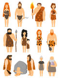 Cartoon primitive people character set vector protoman neanderthal caveman primeval family evolution illustration Stock Image