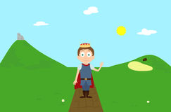 Cartoon prince character greeting on green hill landscape scene with ruin and farm Royalty Free Stock Images