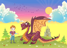 Cartoon prince with cute dragon Royalty Free Stock Images