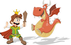 Cartoon prince. With dragon flying stock illustration