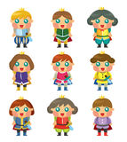 Cartoon Prince icons set Royalty Free Stock Image