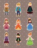 Cartoon Prince and Princess  stickers. Cartoon vector illustration Royalty Free Stock Photos